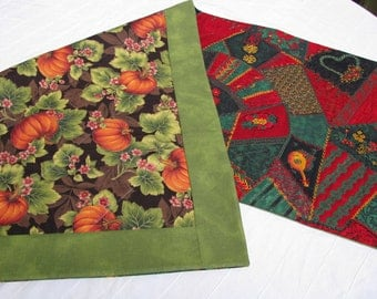 Fall Thanksgiving Christmas Quilted Reversible Tablerunner