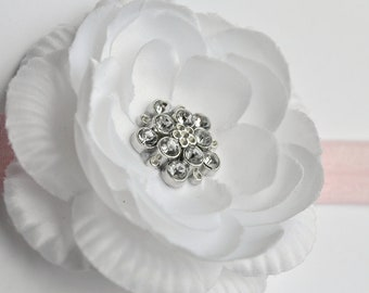 White Flower Headband - White Fabric Flower - White Headband - Baptism, Christening, Wedding