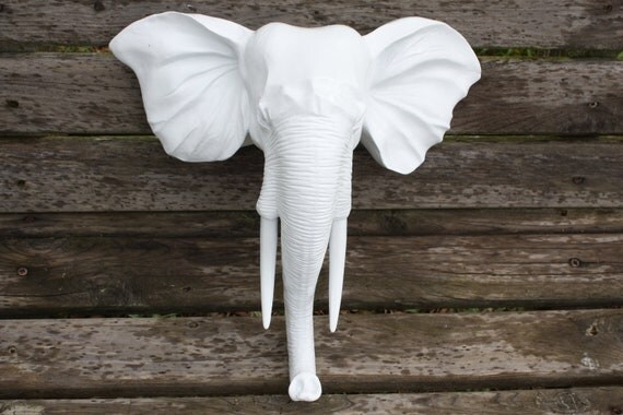 Wall Mount Elephant Head / Faux Taxidermy / Wall Decor / Modern / Glossy White