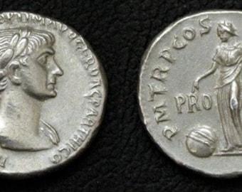 Rome Trajan Denarius 98-117 AD tin replica coin