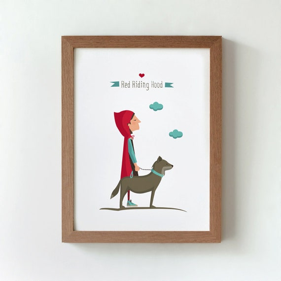 Ilustración. Caperucita y su mascota. Póster A4
