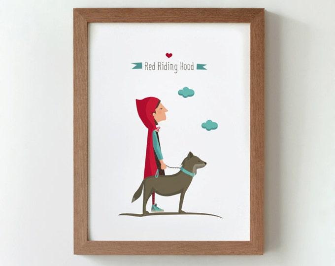 """Ilustración """"Caperucita Roja y su mascota""""."""