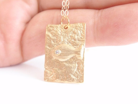 Fish 14K gold filled necklace-simple everyday jewelry