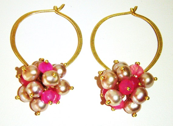 Hot pink chalcedony earrings, bright colorful gemstone earrings, pearls, gold jewellery OOAK