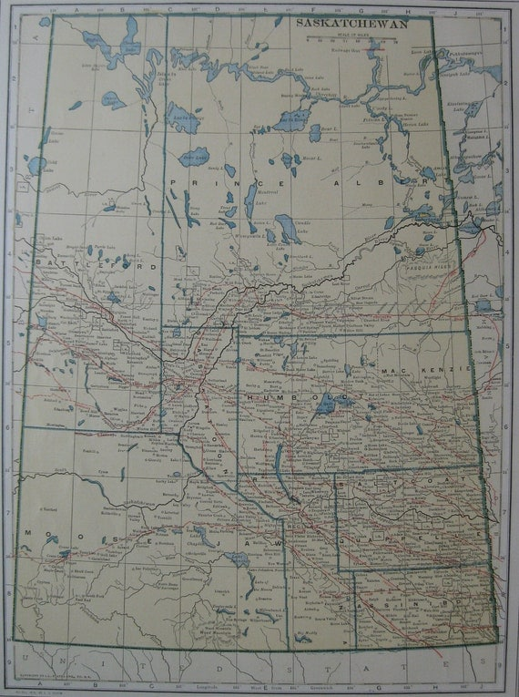 1917 Antique SASKATCHEWAN Map Vintage 1910s Map BEAUTIFUL Color Plaindealing 617