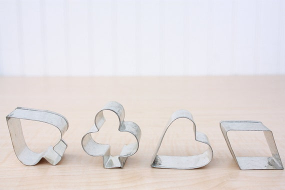 Vintage Miniature Metal Cookie Cutters Playing Card Suits - Set of 4