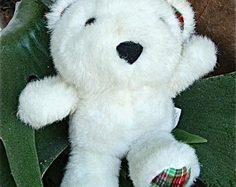 vintage bear with plaid accents