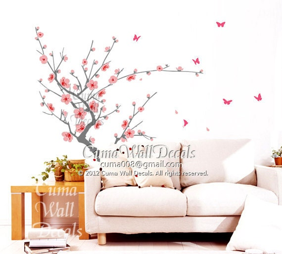 Pink cherry blossom wall decals butterfly vinyl wall by cuma for Cherry blossom tree wall mural