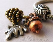Autumn, Fall Treasures European Charm Pendant With Gold Pine Cone, Copper Acorn And Silver Leaf Charms