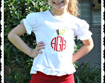 Custom Applique MonogramApple Shirt -Short or Long Sleeve Back To School