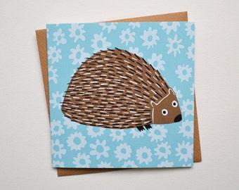 Hedgehog Card - Blank Greetings Card from Screen Print Design