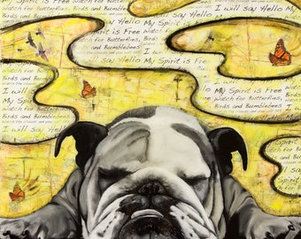 Bulldog, Pet Portrait,  Fine Art Print Signed by Artist Jamie Rice, Home Decor for Dog Lovers