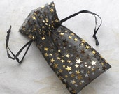 "Organza Bags Black with Gold Stars, TEN 3"" x 5.5"" Drawstring Pouch Sheer Fabric Jewelry Supply Favor Bags"