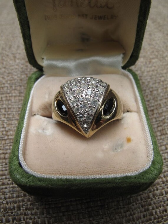 50s/60s Panetta Owl Sterling and Gold Cocktail Ring