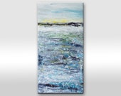 "Original modern abstract light blue grey gray sea, ocean painting on canvas. Wind nature water sunset. ""Hope"" large original painting"