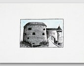Ink drawing - Original black and white ink painting - Castle building illustration A4 size 12x8 Home decor Nursery wall art