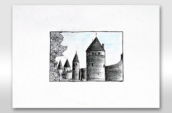 ORIGINAL DRAWING of buildings Black And White ink painting / Castle art for modern design interior / Minimalistic art Landscape illustration