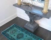 Vintage Overdyed Prayer Rug - Aqua