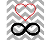 chevron pattern / INFINITY LOVE / grey red black / vintage pattern / 8x10 inches /  original art print