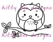 "Kawaii ""Hanging Around"" Owl Digi Stamp"