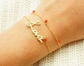 Valentine's Bracelet - Gold Love Bracelet w/ Red Drop Pendant - Love Charm Bracelet - Lovers Bracelet - Gift for Her
