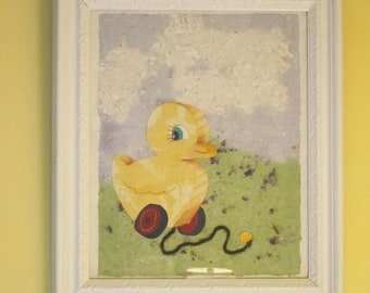 Framed Kids Ducky Collage with Handmade Paper