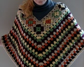 Crocheted 60's style multcolored granny square poncho