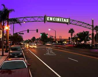 8x12 Photo of Downtown Encinitas, CA.  The summer sunset is inviting and brings fond memories of fun at the ocean.
