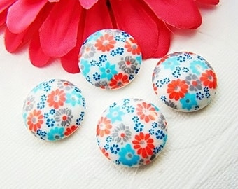 Vintage Red White and Blue Floral Calico Cabochons 20mm Round Plastic Stones - 4
