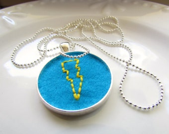 What's Your Superpower - Hand stitched pendant, yellow on blue
