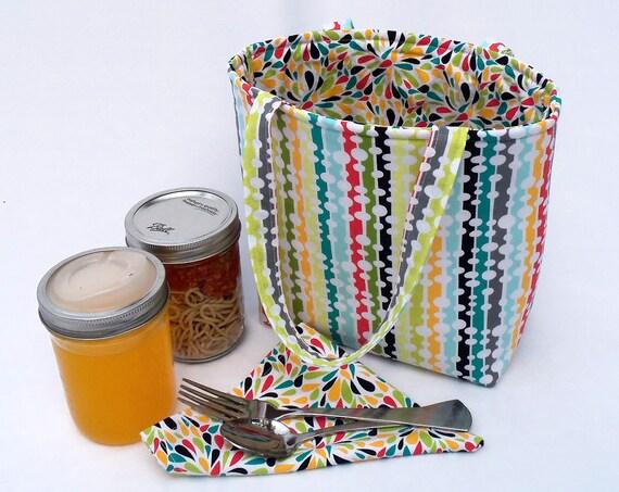 Jars to Go Bag - designer fabric canning jar lunch bag