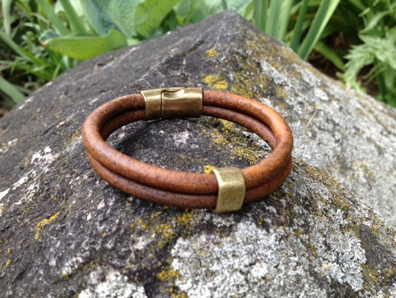 Mens Leather Bracelet, Unisex Leather Bracelet, Natural Dark Brown (or Black) Leather Cord, Zamak Brass Magnetic Clasp and Band  (LW-410)