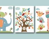 Print for Baby Room Kids Art Kids Decor Room Decor Owls Baby Nursery Print set of 3 8x10 Elephant Turtle Giraffe Bird Owls Blue Green Yellow