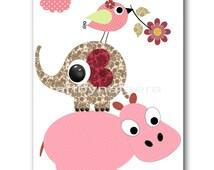 Art for Kids Room Baby Wall Art Baby Girl Nursery Art Baby Nursery Prints Nursery Decor Girl Red Rose pink Elephant Bird Hippopotamus
