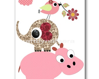 Art for Kids Room Baby Wall Art Baby Girl Nursery Art Baby Nursery Prints Nursery Decor Girl Red Rose pink Elephant Bird Hippopotamus