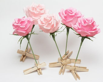 Cake topper 5 pcs, wedding cake topper, birthday cake topper, flower cake topper, paper cake topper, rose cake topper