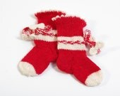 Baby girl Socks /  red and white color / wool socks /  infant socks, 0-3 month, Valentine's day fashion, spring socks, gift for baby