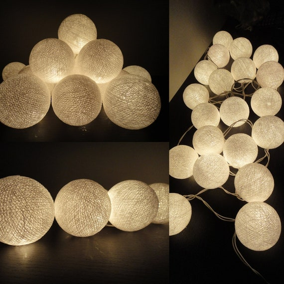 20 big cotton balls white color fairy string lights by marwincraft. Black Bedroom Furniture Sets. Home Design Ideas