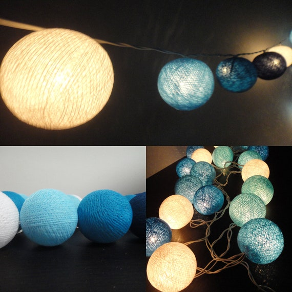 20 Big Cotton Balls Mixed Blue Sky Tone Fairy String Lights Party Patio Wedding Floor Table or Hanging Gift Home Decor Christmas Bedroom
