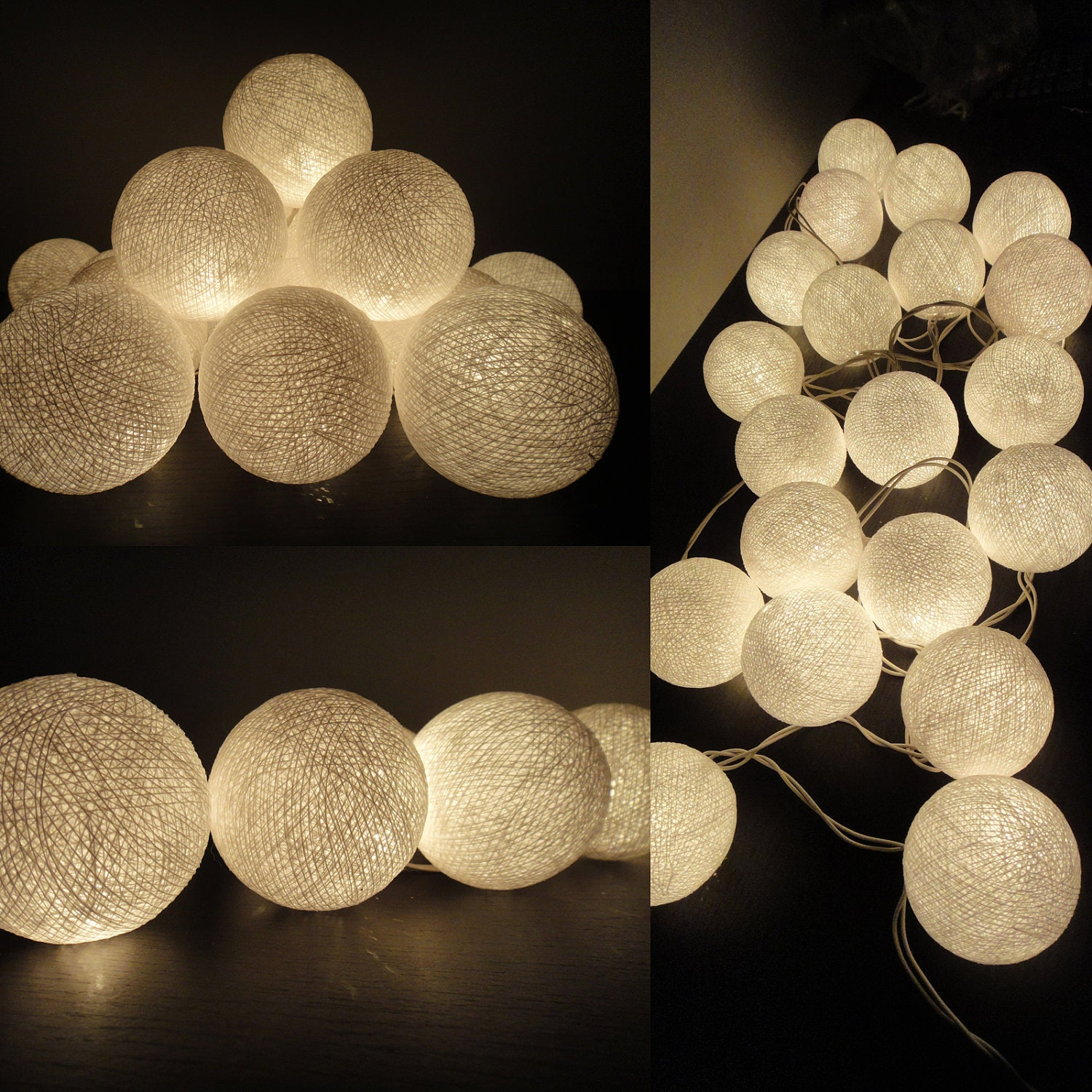 20 Big Cotton Balls White Color Fairy String Lights by marwincraft