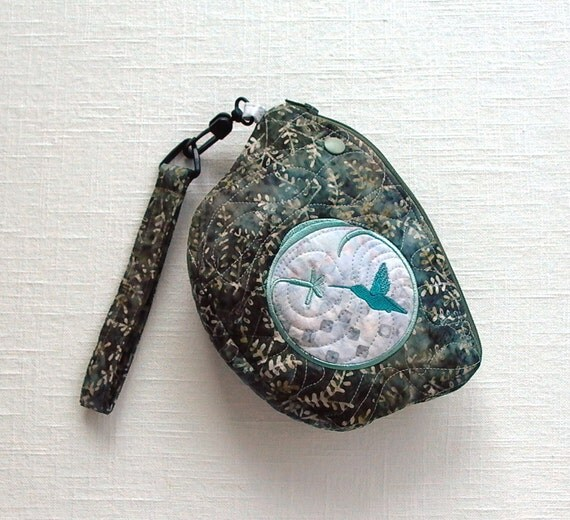 Quilted Wristlet Purse Bag with Hummingbird Embroidery in Gray Blue Batiks