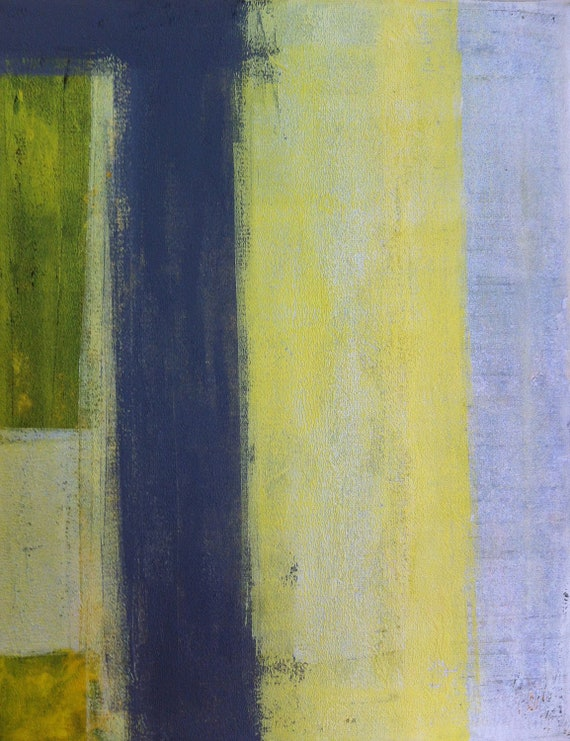 Acrylic Abstract Art Painting White, Yellow and Grey - Modern, Contemporary, Original 11 x 14