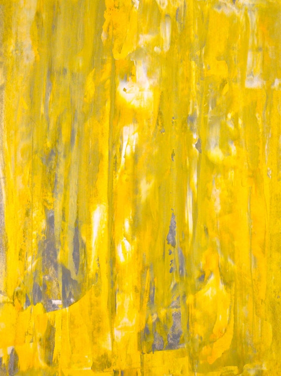 Acrylic Abstract Art Painting Grey, Yellow and White - Modern, Contemporary, Original 11 x 14
