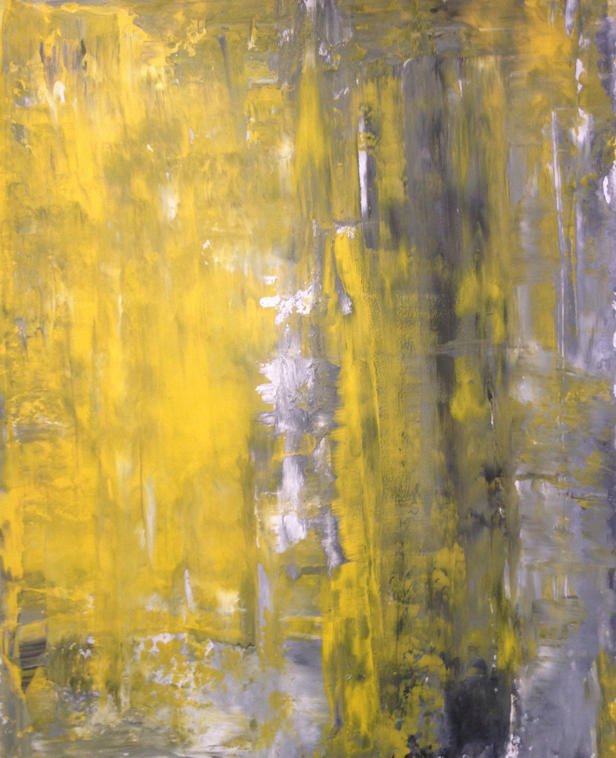 Acrylic abstract art painting grey yellow and white modern for White paint going yellow