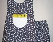 ON SALE:    Toddler girl busywear pinafore  outfit made with Michael Miller size 3T