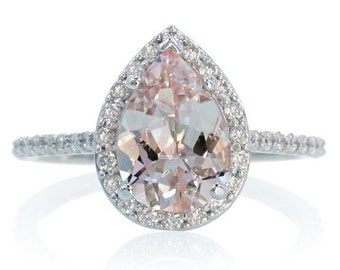 14K White Gold Pear Cut Morganite Engagement Ring Shape Diamond Halo Alternative Engagement Solitaire Wedding Anniversary Gemstone Ring