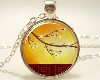 Sunset Tree Necklace, Nature Jewerly, Autumn Pendant (1111S1IN)
