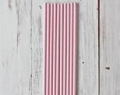 BULK Solid Petal Pink Paper Straws - 50 Straws