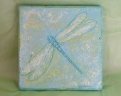 Dragonfly in green and blue tumbled marble trivet
