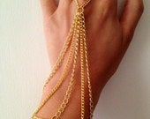 Gold hand chain- chain jewelry, body armor, hand chain, gold chains, fashion accessories, boho jewelry, boho chic